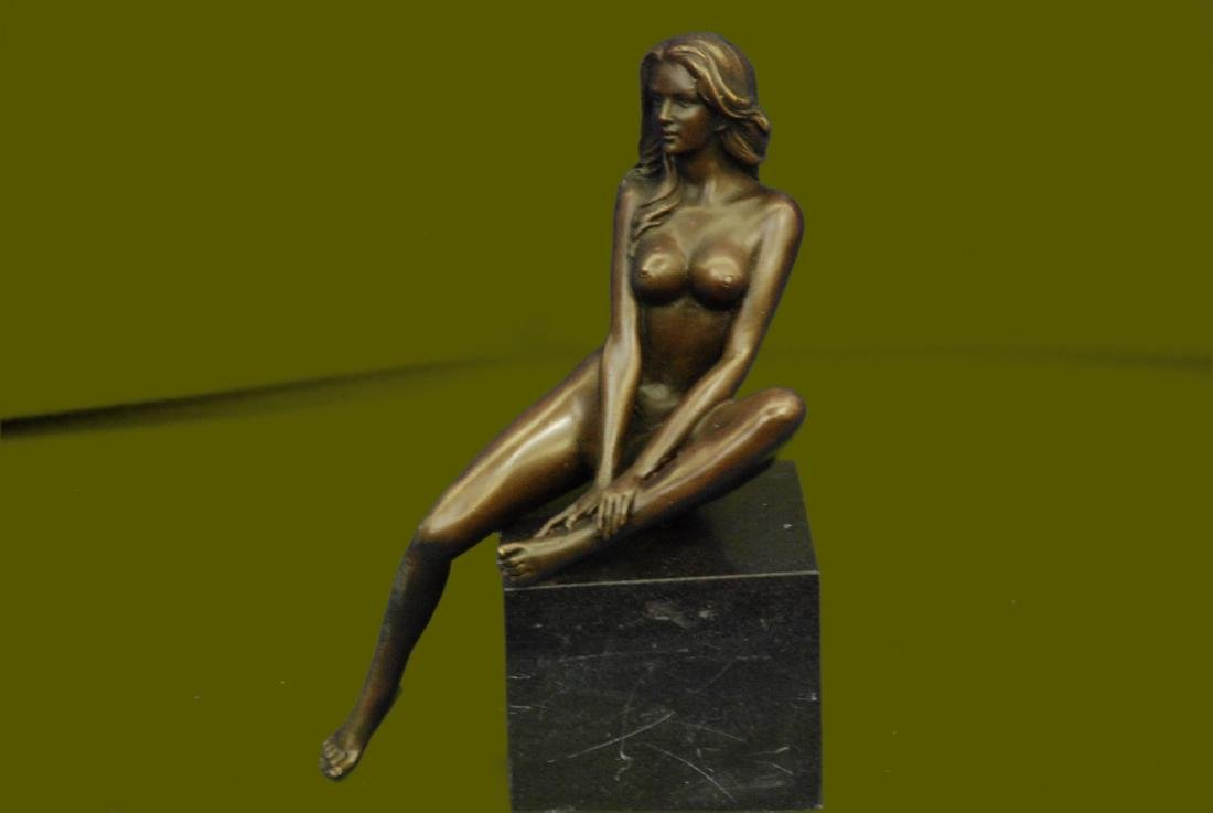 Bronze art sculpture a nude erogenous woman girl lady statue marble base figure
