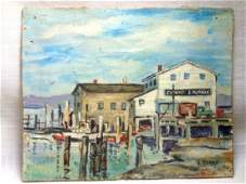Small Impressionist Dock Scene Landscape Oil Painting