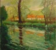orig Karl Larsen (1897-1977) Mod Landscape 1948 Oil