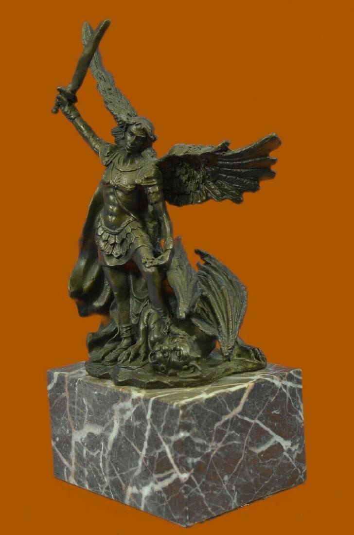Bronze Marble St Michael Police Saint Sculpture Statue