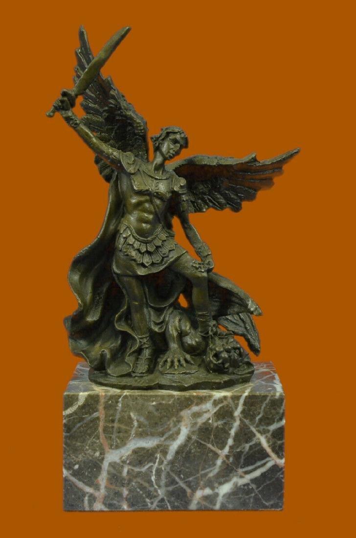 Bronze Marble St Michael Police Saint Sculpture Statue - 2