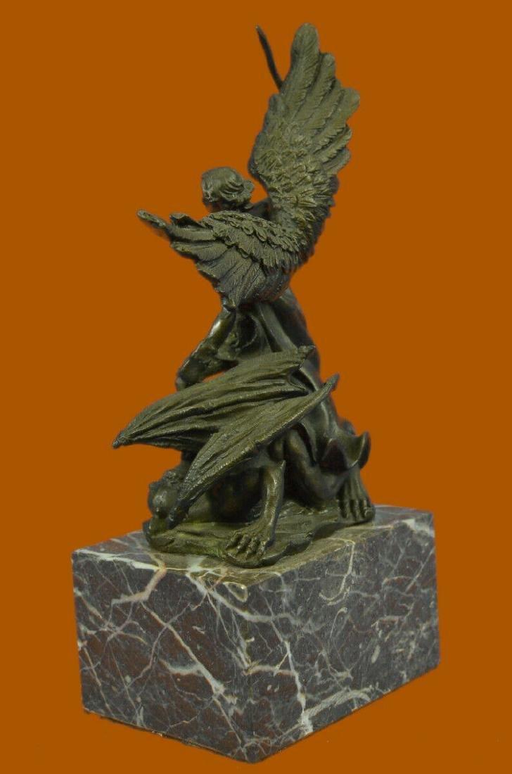 Bronze Marble St Michael Police Saint Sculpture Statue - 3