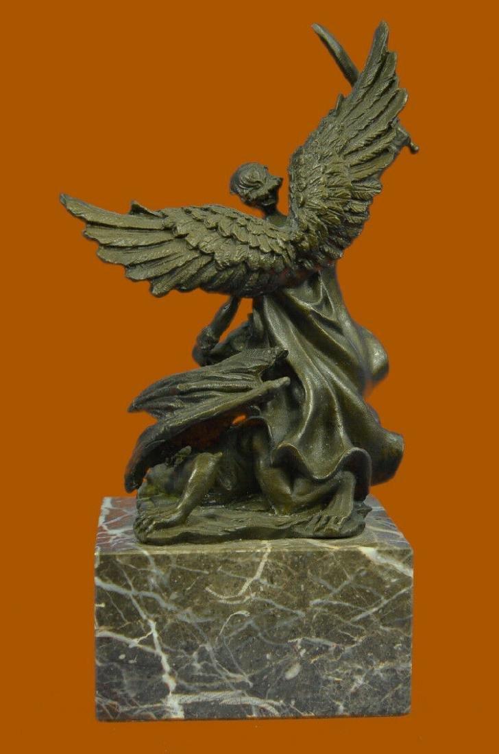 Bronze Marble St Michael Police Saint Sculpture Statue - 4