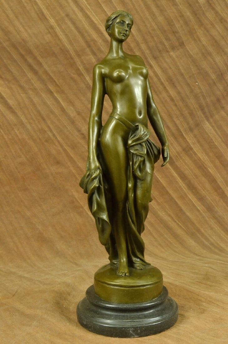 Art Nouveau Nude Roman Maiden Bronze Marble Base