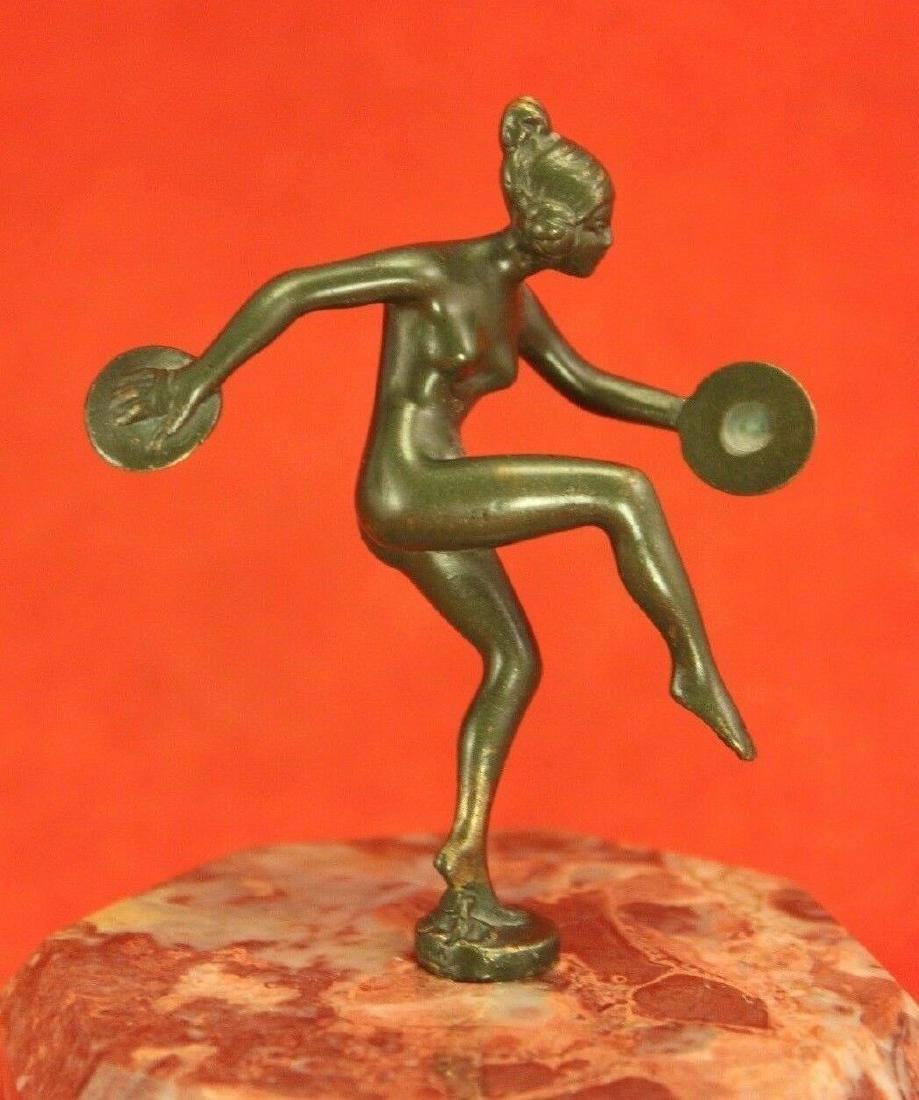 Bronze Art Deco Sculpture Nude Dancer w Cymbals -