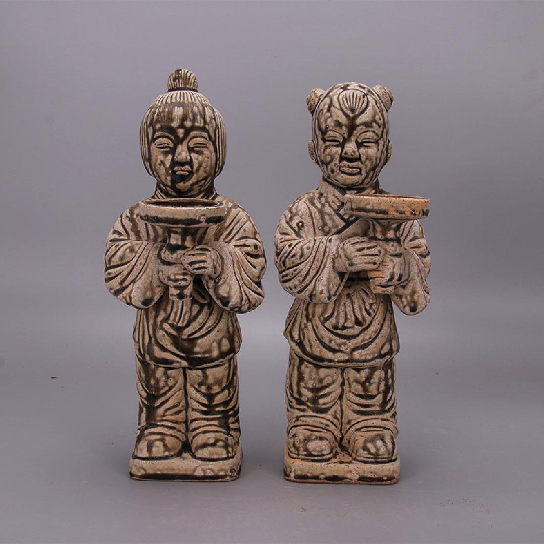 Chinese Song Dynasty Yue Ware Porcelain Dolls in Pair