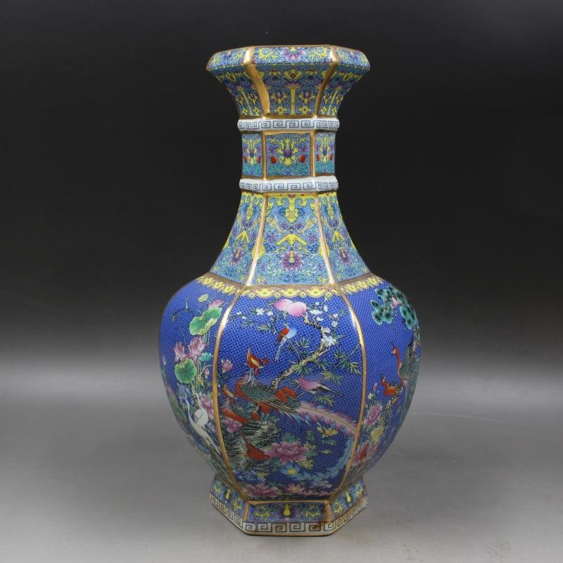 Chinese Qing Dynasty Qianlong Time Blue Ground Enamel