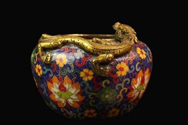 Qing Dynasty Copper tire cloisonne incense burner
