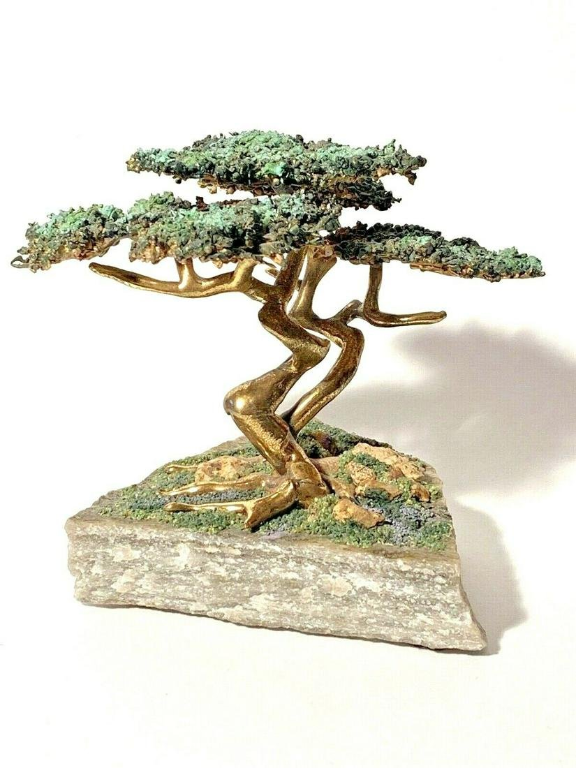 Rob Holt Signed Bronze Cypress Tree Sculpture -