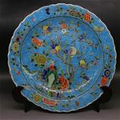 Chinese Qing Dynasty Kangxi Time Blue Ground Porcelain