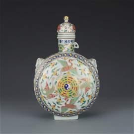 Ming dynasty XuanDe colourful crane pattern flat bottle