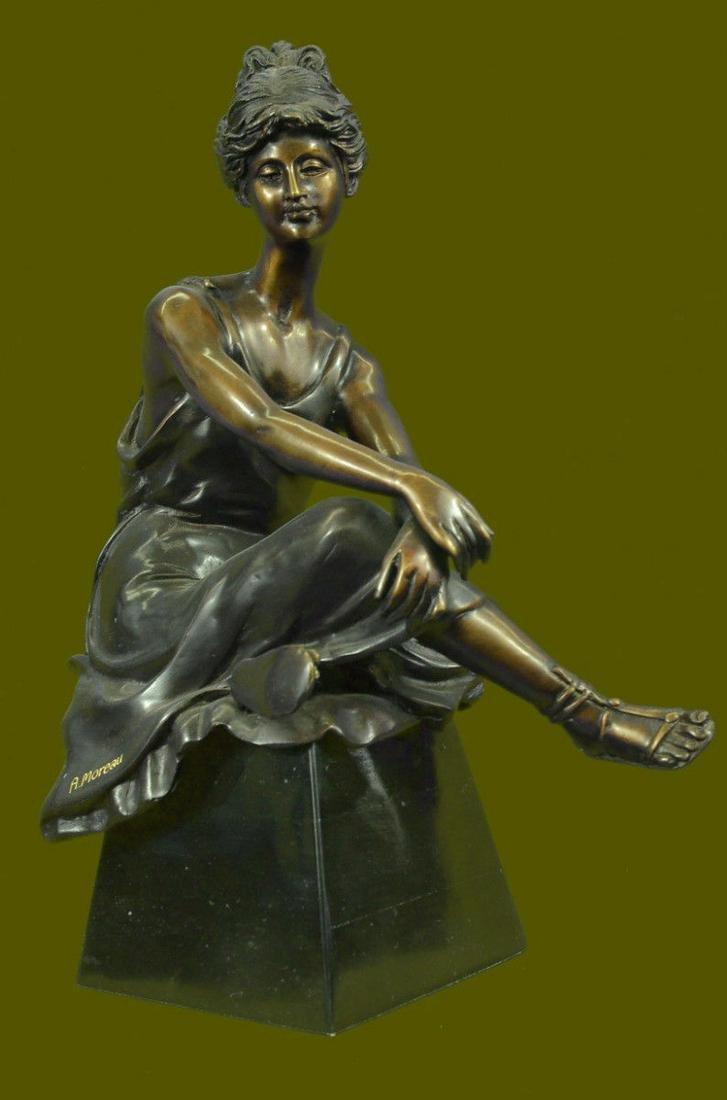 Vintage Sculpture BRONZE Art Nouveau LADY Old VICTORIAN
