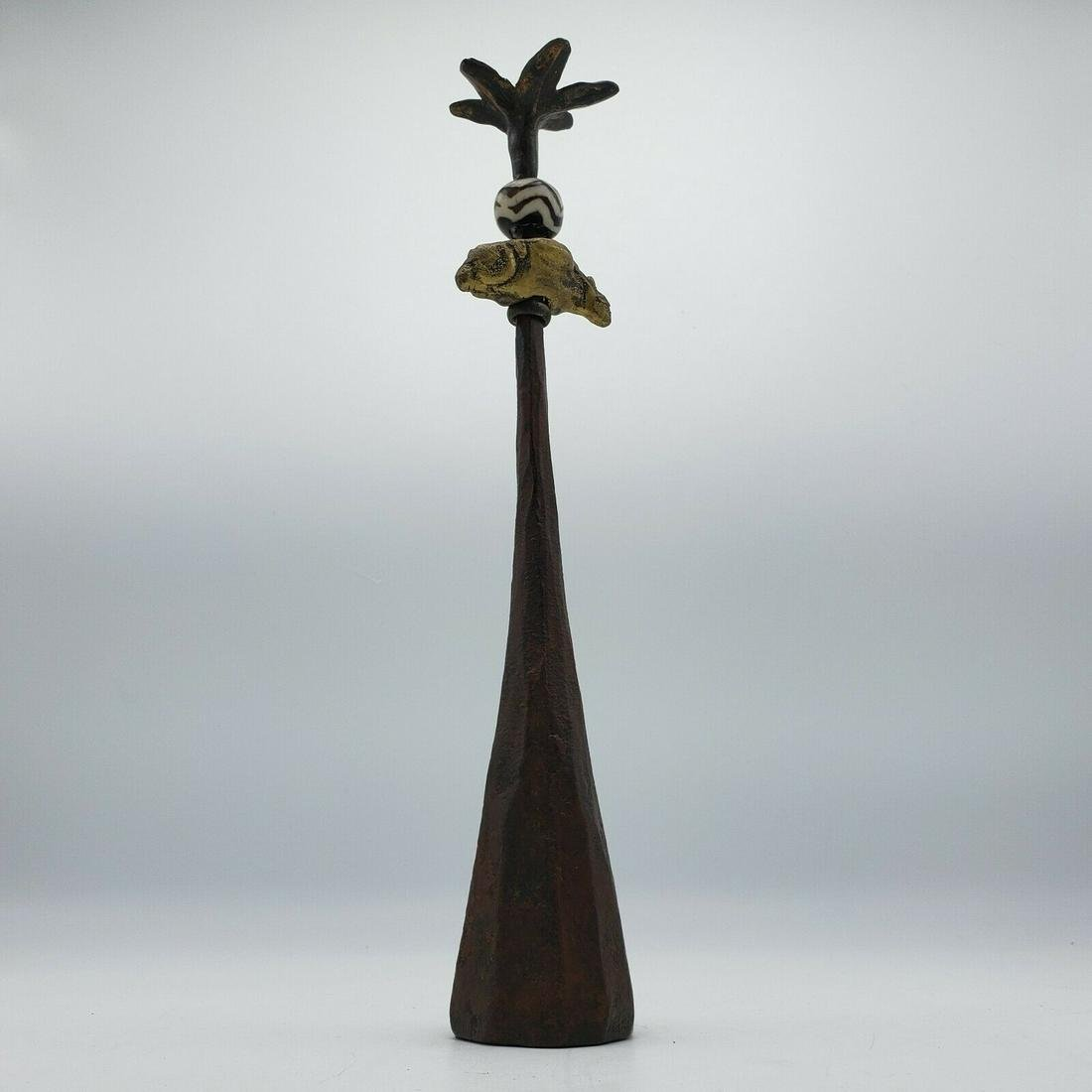 Abstract Bronze Sculpture with Pottery Insert - Tall