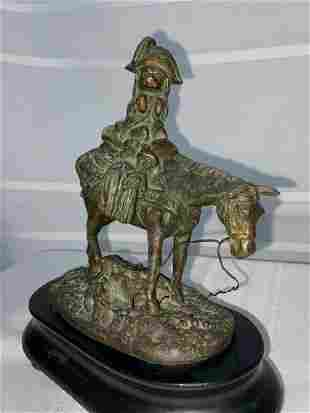 Antique Bronze Dog on Horse Sculpture
