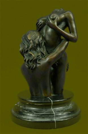 Two Nude Female Abstract Modern Art Bronze Sculpture