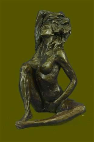 SIGNED BRONZE woman Sitting Statue Sculpture Modern