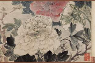 Qing dynasty flower and bird painting by Gao Feng Han