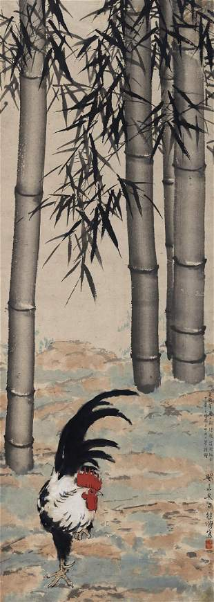 Chicken and bamboo painting by Xu Bei Hong