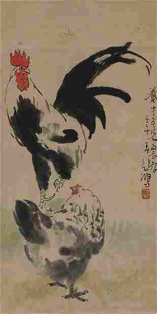 Chicken painting by Xu Bei Hong