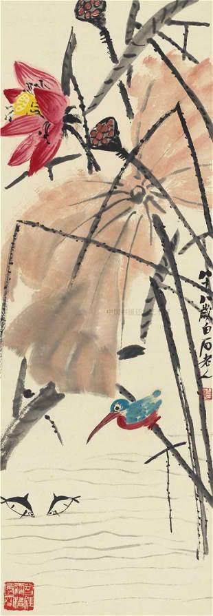 Lotus mandarin duck painting by Qi Bai Shi