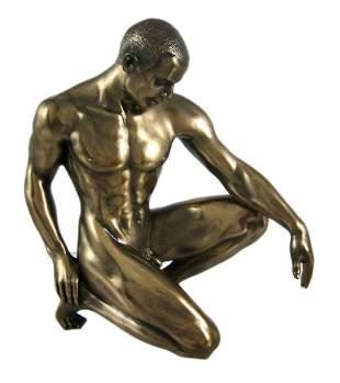 Bronze Finish Nude Male Statue Figure Art