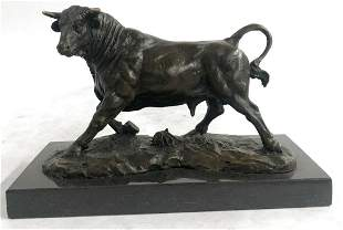 Solid Bronze Sculpture of a Bull Marble Base Abstract