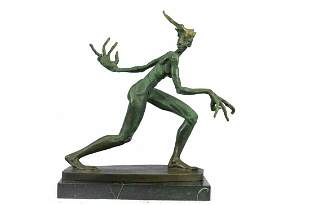 Abstract Surreal Bronze Sculpture of a Monster