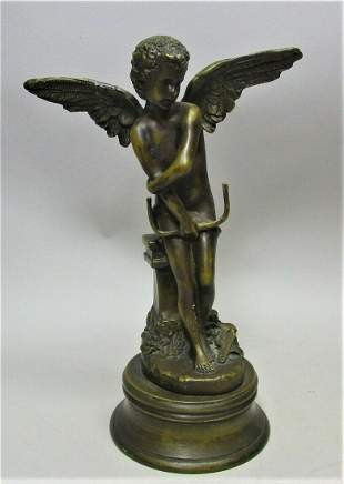 Vintage FRENCH ART NOUVEAU BRONZE Sculpture of Winged