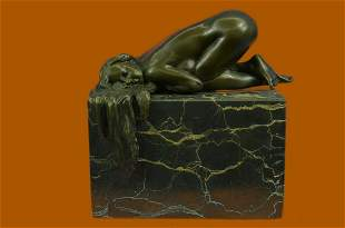 SIGNED PHOC FRENCH ARTIST NUDE GIRL BRONZE SCULPTURE