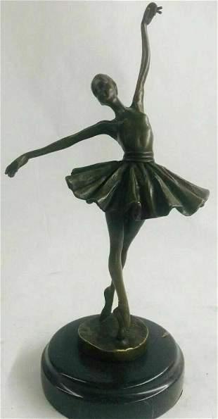 Cute Bronze statue little ballerina girl Dancer Bronze