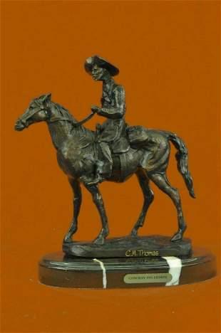 Signed Thomas Cowboy Horse Sheriff Marble Figurine