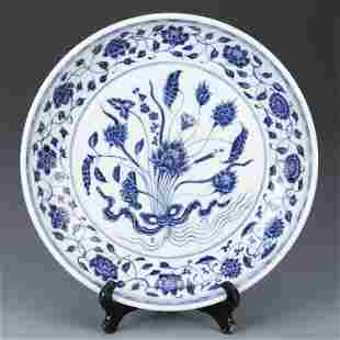 Ming dynasty blue glaze plate with lotus painting