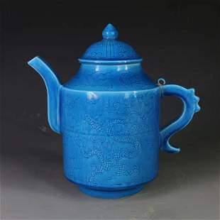 Ming dynasty peacock blue glaze hold pot with dragon