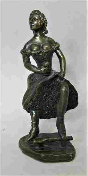 "Signed ART DECO MINIATURE BRONZE Sculpture of ""Sexy"""
