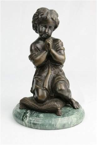 Vintage Bronze Sculpture Child Praying on a Pillow