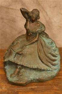 Antique Hammered Copper or Bronze Female Reading