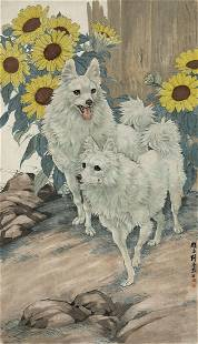 White dog painting by Yao Chen Gang