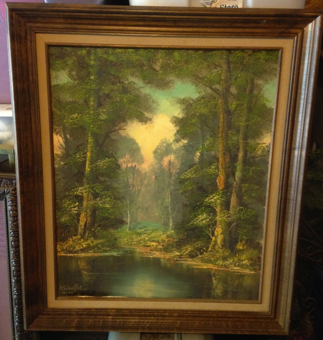 Oil Painting of Lake Scene signed by H. Scheffel Wien