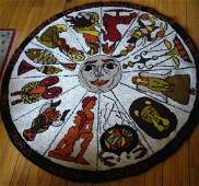 Rare Round Zodiac Hooked Rug/Astrology Wall Hanging