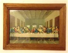 Vintage 1960's Framed Image of the Last Supper