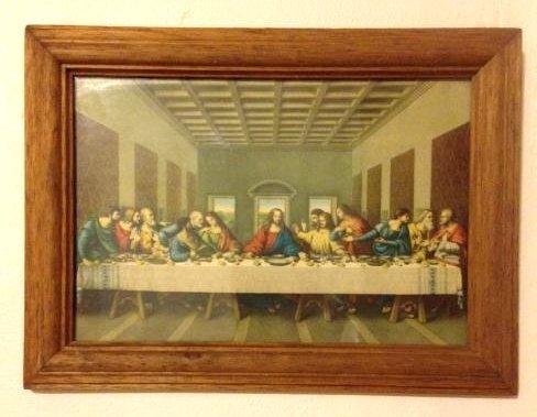 Vintage 1960's Framed Image of the Last Supper