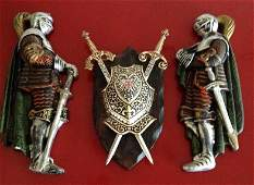 Vintage Three Piece Knight Plaque Set with Metal Coat