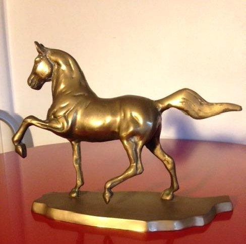 Vintage Brass Horse Statue on Brass Base