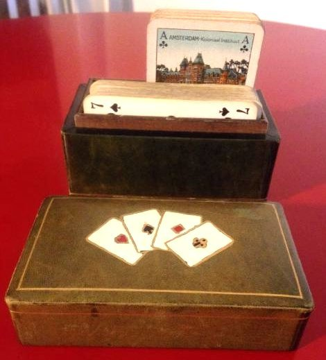 German Playing Cards w/ Leather Enameled Box