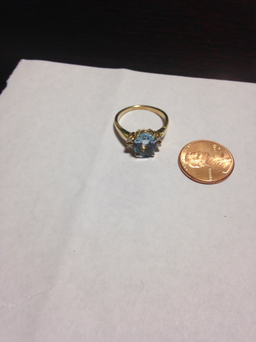 Vintage Aquamarine and Diamond 14k Gold Ring Sz: 8 - 10