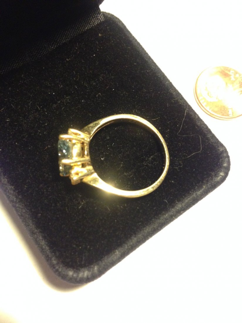 Vintage Aquamarine and Diamond 14k Gold Ring Sz: 8 - 12