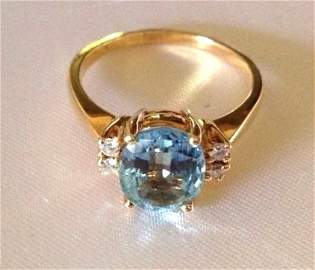 Vintage Aquamarine and Diamond 14k Gold Ring Sz: 8