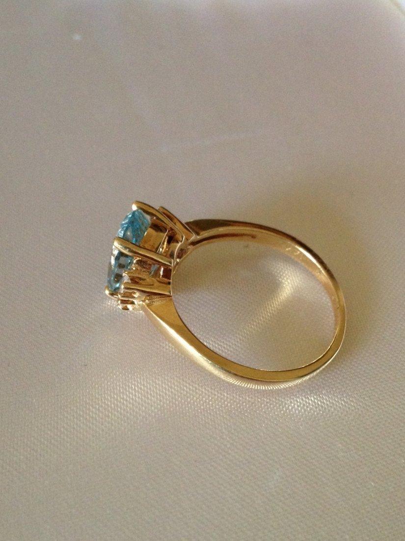 Vintage Aquamarine and Diamond 14k Gold Ring Sz: 8 - 2