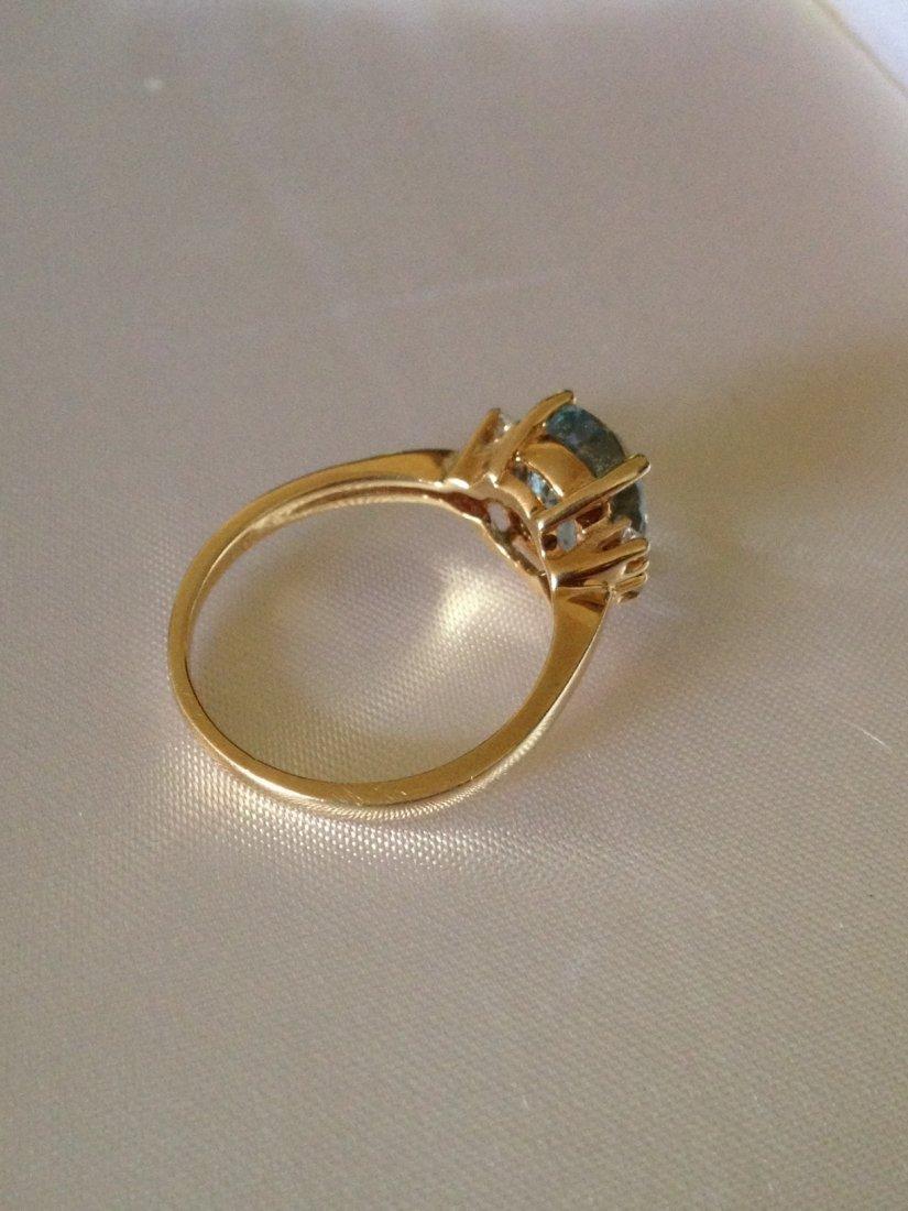 Vintage Aquamarine and Diamond 14k Gold Ring Sz: 8 - 3