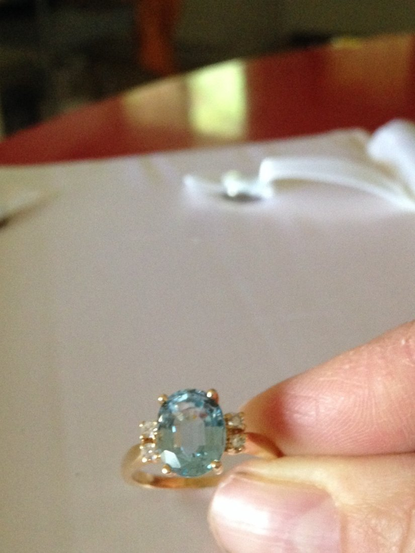 Vintage Aquamarine and Diamond 14k Gold Ring Sz: 8 - 4